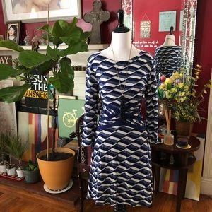 Beige by eci Paneled 1/4 Sleeves Dress